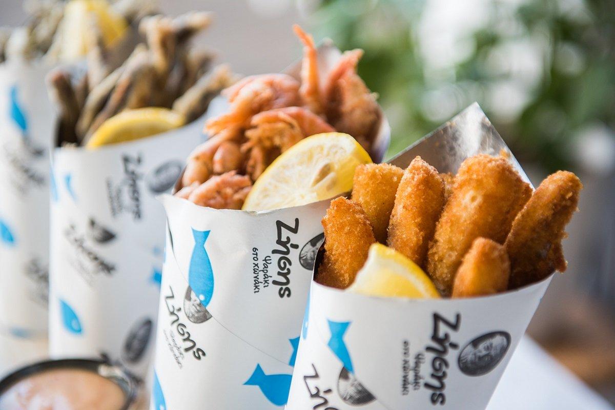 ζησης ψαρακι στο χωνακι fish street food